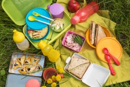 Top view of various picnic food at outdoor
