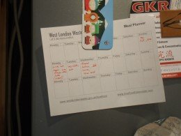 Meal planner on fridge